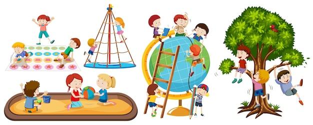 Satz verschiedene kinderaktivitäten lokalisiert auf weißem hintergrund Kostenlosen Vektoren