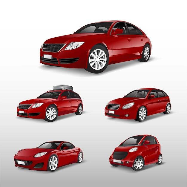 Satz verschiedene modelle von roten autovektoren Kostenlosen Vektoren