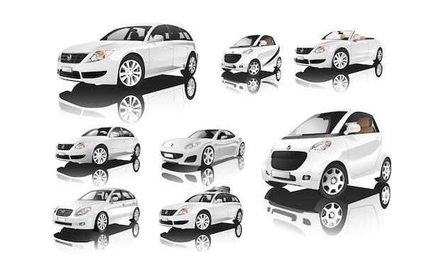 Satz verschiedene modelle von weißen autovektoren Kostenlosen Vektoren