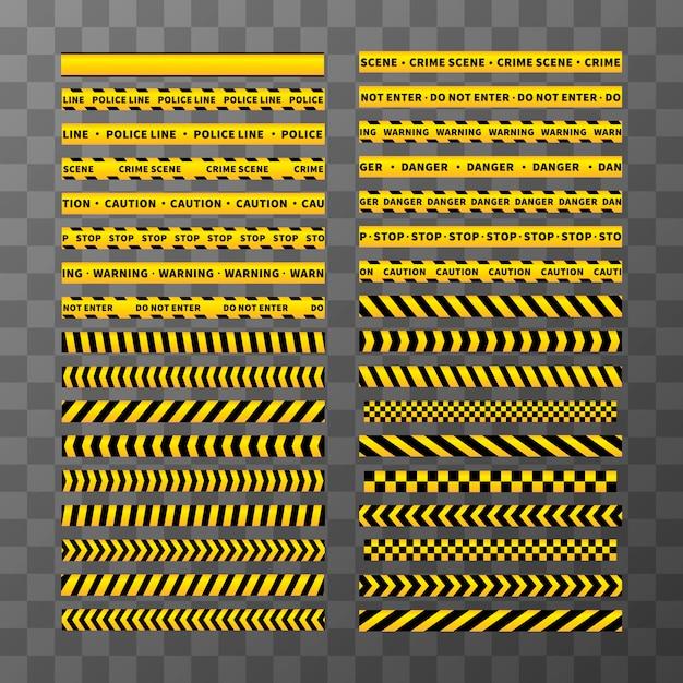 Satz verschiedene nahtlose gelbe und schwarze vorsichtbänder auf transparentem hintergrund Premium Vektoren