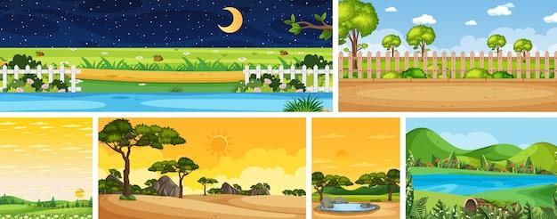 Satz verschiedene naturplatzszenen in vertikalen und horizontszenen bei tag und bei nacht Premium Vektoren