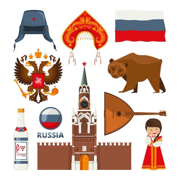 Satz verschiedene traditionelle nationale symbole von russland moskau. russische kultur und architektur, bär und balalaika illustration Premium Vektoren