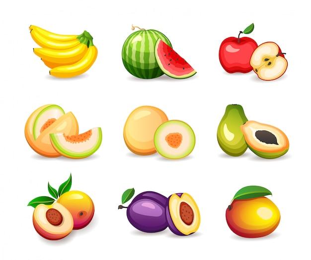 Satz verschiedene tropische früchte auf weißem hintergrund, illustration im stil Premium Vektoren