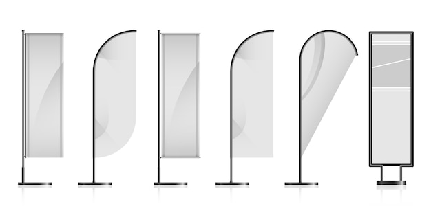 Satz verschiedene weiße leere werbungsflaggen Premium Vektoren