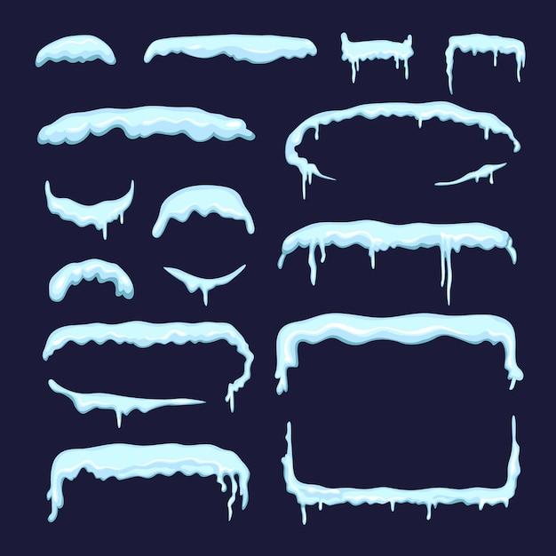 Satz verschiedene winterschneekappen und -eiszapfen. grenzen und trennwände im cartoon-stil. schneekappe und schneeverwehung design. vektor-illustration Premium Vektoren