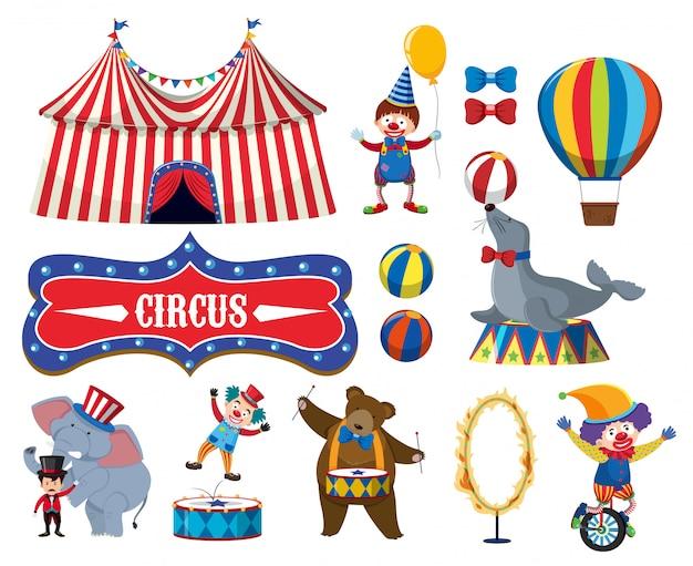 Satz verschiedene zirkusgegenstände Premium Vektoren