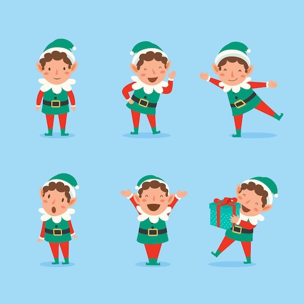 Satz verspielte weihnachtselfen. sammlung von weihnachtsmannhelfern. Kostenlosen Vektoren