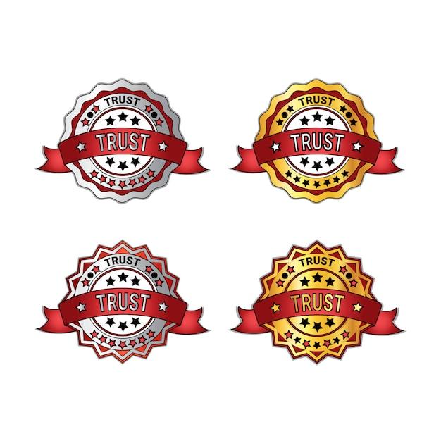 Satz vertrauensabzeichen mit den roten band-garantie-emblemen lokalisiert Premium Vektoren