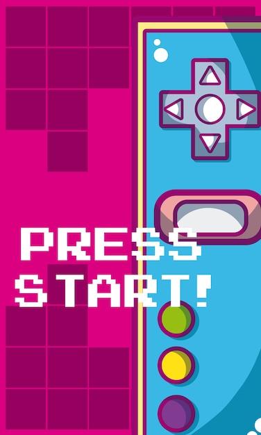 Satz videospiel und konsolenvektor-illustrationsgrafikdesign Premium Vektoren