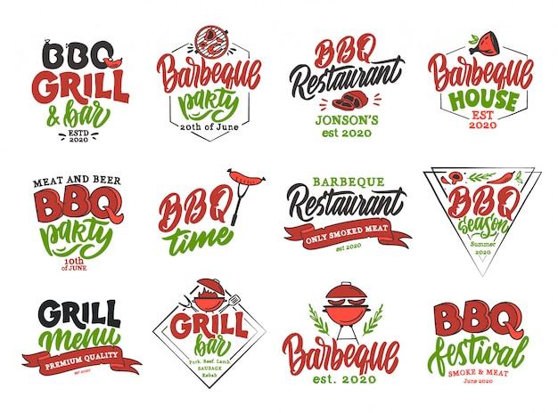 Satz vintage bbq zeit embleme und stempel. bunte abzeichen, vorlagen, aufkleber Premium Vektoren