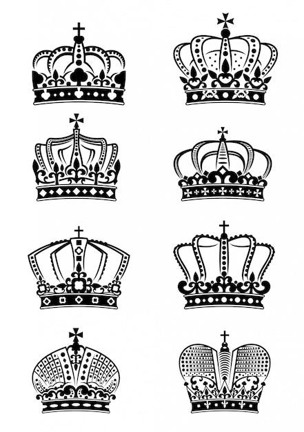 Satz vintage heraldische königskronen Premium Vektoren