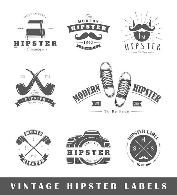 Satz vintage-hipster-etiketten Premium Vektoren