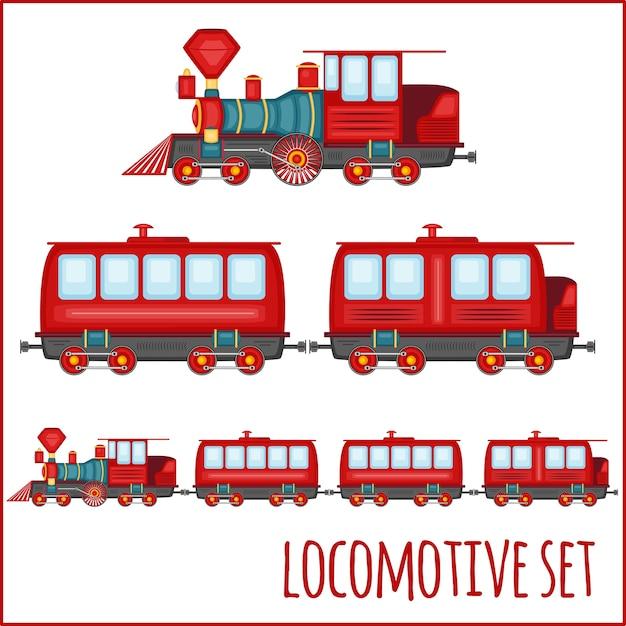 Satz vintage-lokomotiven auf einem leeren hintergrund Premium Vektoren