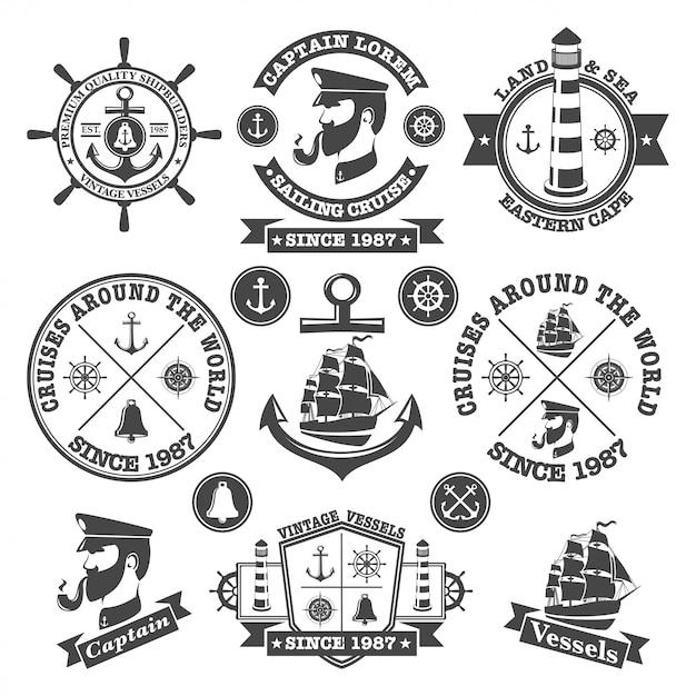 Satz vintage nautische etiketten, symbole und gestaltungselemente Kostenlosen Vektoren