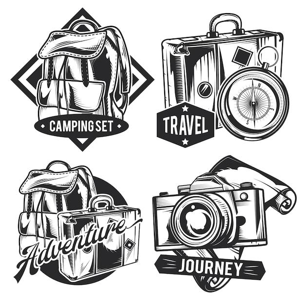 Satz vintage reiseembleme Kostenlosen Vektoren