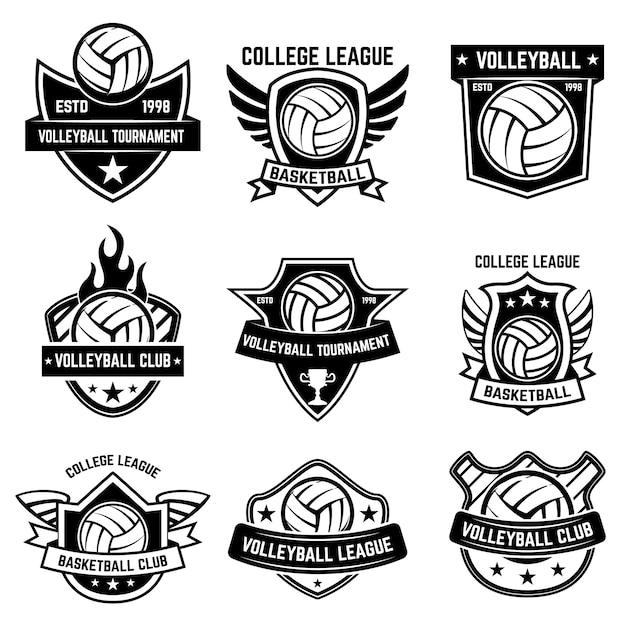 Satz volleyball-sportembleme. element für plakat, logo, etikett, emblem, zeichen, t-shirt. illustration Premium Vektoren