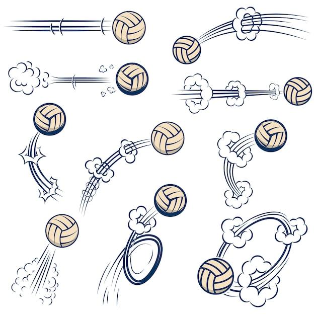 Satz volleyballbälle mit bewegungspfaden im comic-stil. element für plakat, banner, flyer, karte. illustration Premium Vektoren