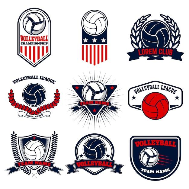 Satz volleyballetiketten und -embleme. elemente für logo, etikett, emblem, abzeichen, zeichen. illustration. Premium Vektoren