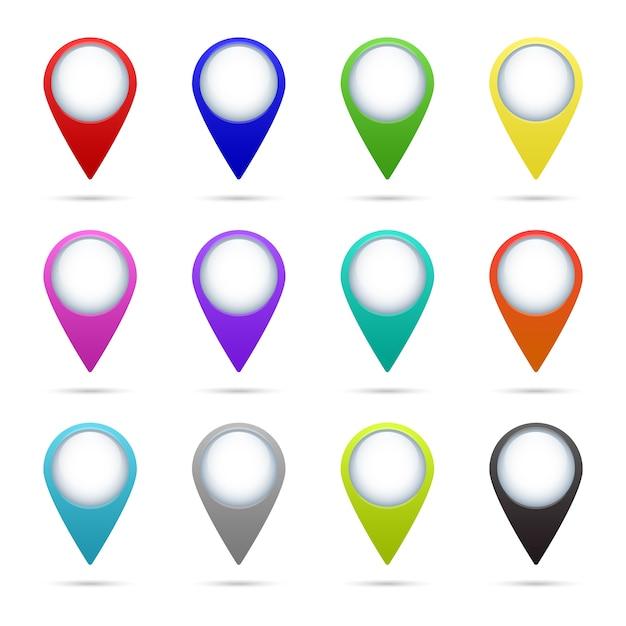 Satz von 12 kartenzeigersymbolen. Premium Vektoren