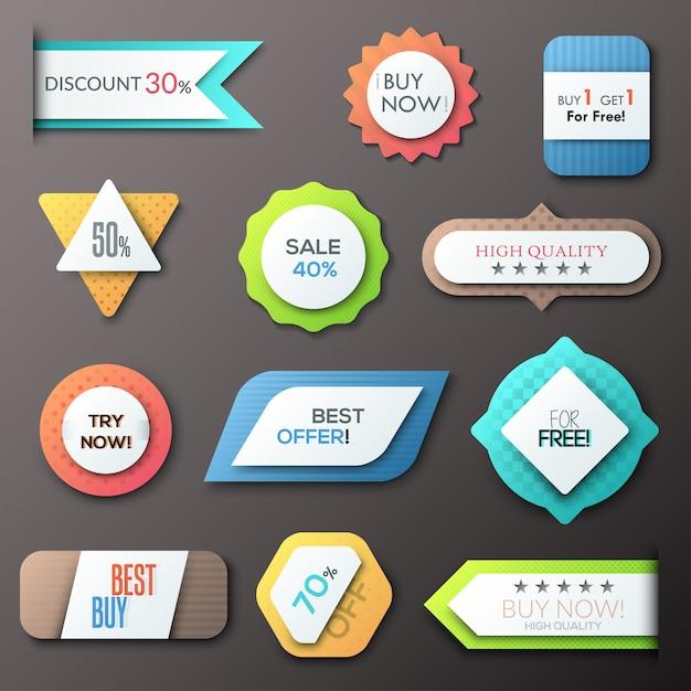 Satz von 12 kreativen papierabzeichen Premium Vektoren