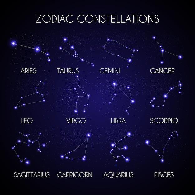 Satz von 12 tierkreiskonstellationen auf dem hintergrund der kosmischen himmelsillustration Premium Vektoren