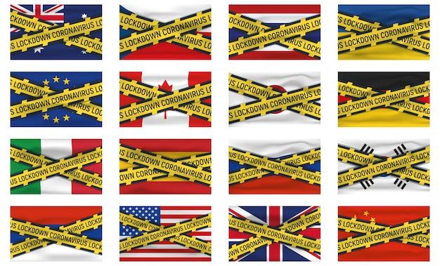 Satz von 16 flaggensymbol und -logo, coronovirus-sperrung, covid 19, weltepidemie, pandemie. nationalflagge banner und vorlage. Premium Vektoren