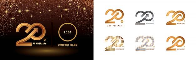 Satz von 20-jährigem jubiläumslogotypentwurf, 20-jähriges jubiläumsfest Premium Vektoren