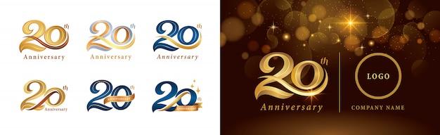 Satz von 20-jährigem jubiläumslogotypentwurf, 20 jahre, die jubiläumslogo feiern Premium Vektoren