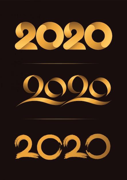 Satz von 3, guten rutsch ins neue jahr, feiernde handschrift des weihnachten 2020 Premium Vektoren