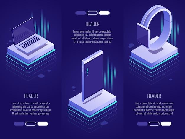 Satz von 3 konzeptionellen überschriften. intelligente digitale geräte wie telefon, laptop, uhren. Premium Vektoren