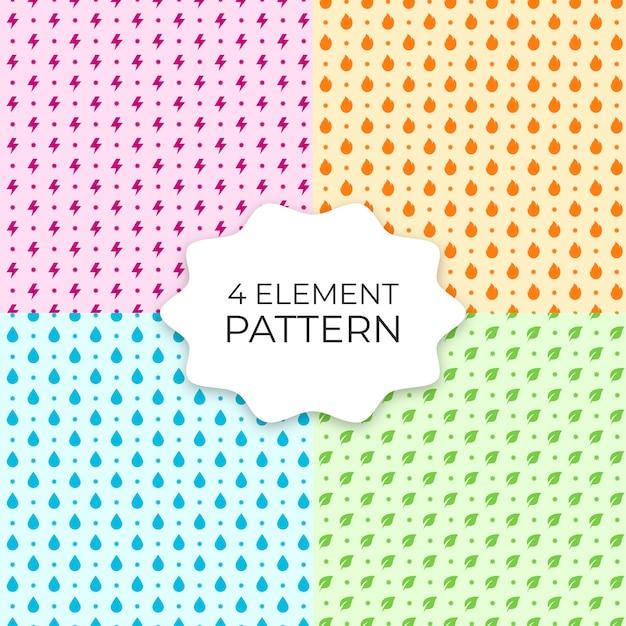Satz von 4 element-nahtlosen mustern Premium Vektoren