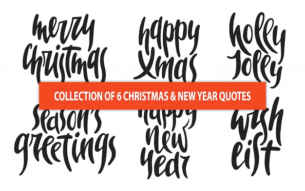 Satz von 6 weihnachts- und des neuen jahresvektortypographie Premium Vektoren