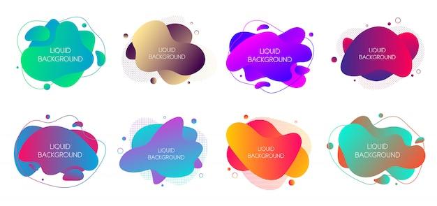 Satz von 8 abstrakten modernen grafischen flüssigen elementen. Premium Vektoren