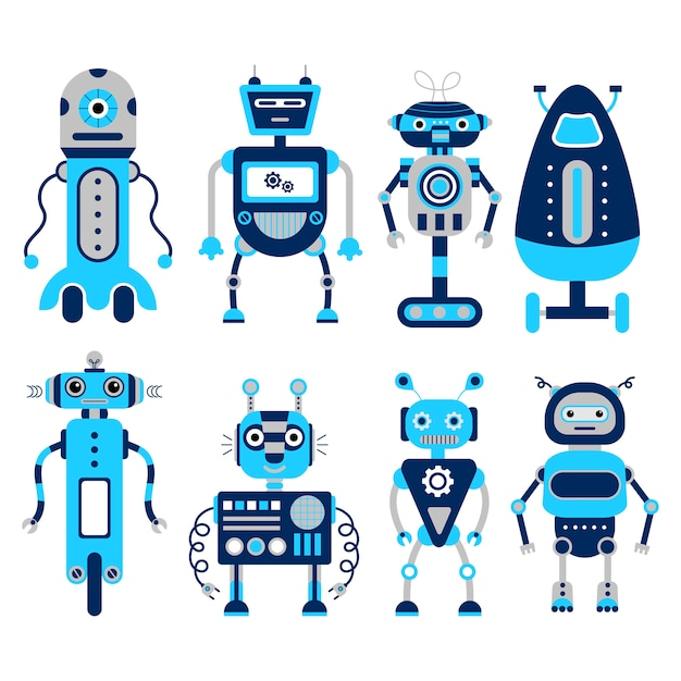 Satz von 8 bunten robotern auf einem weißen hintergrund. Premium Vektoren