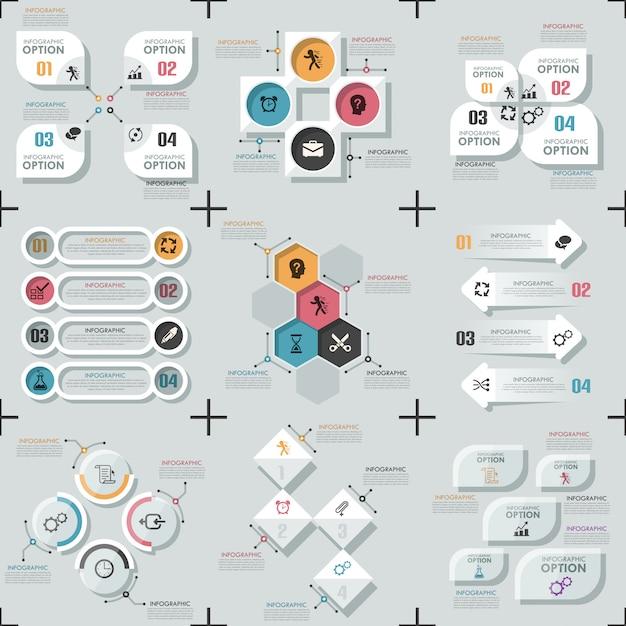 Satz von 9 flachen minimalen infografik-vorlagen Premium Vektoren