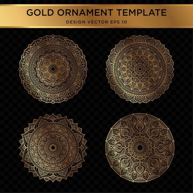 Satz von abstrakten goldverzierungentwurf Premium Vektoren