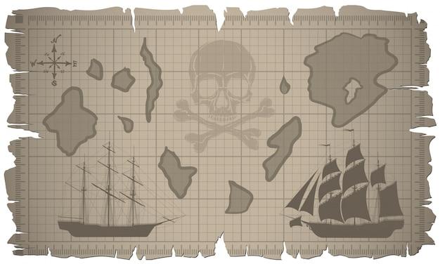 Satz von alten papierbögen und von alter karte. vektor. Premium Vektoren