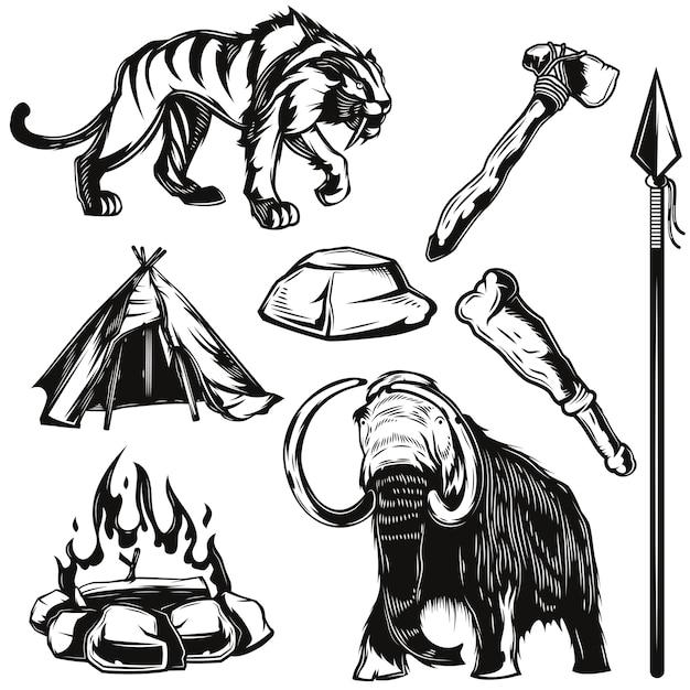 Satz von alten tieren und apps-elementen Kostenlosen Vektoren