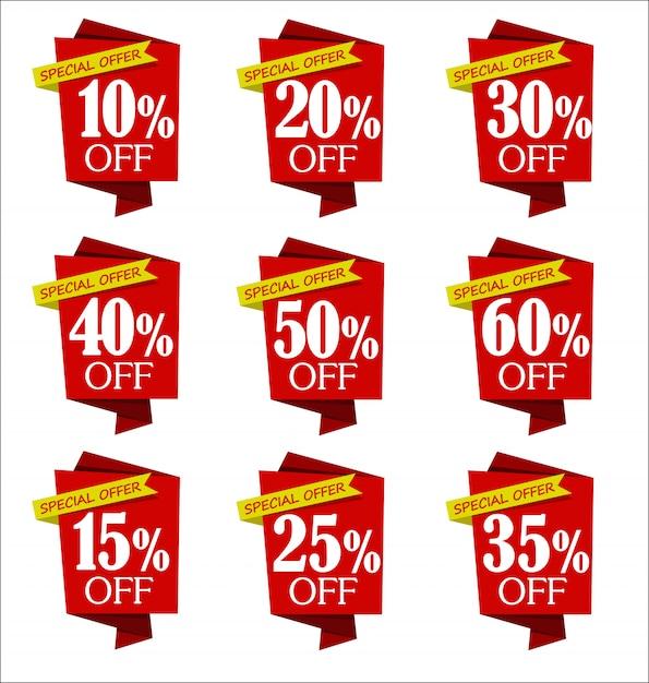 Satz von angeboten und rote fahnenansammlung des verkaufsrabattes Premium Vektoren