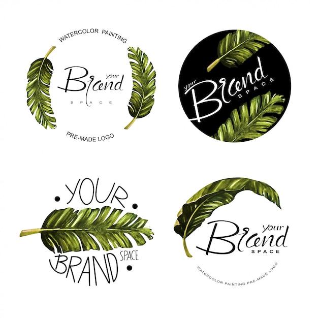 Satz von aquarell vorgefertigten logos. Premium Vektoren