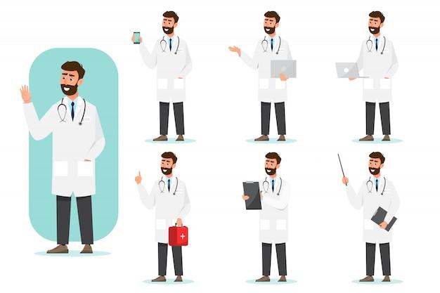 Satz von arzt comic-figuren. team des medizinischen personals im krankenhaus. Premium Vektoren
