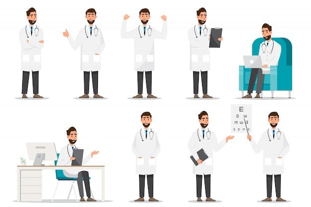 Satz von arzt comic-figuren. teamkonzept des medizinischen personals im krankenhaus Premium Vektoren