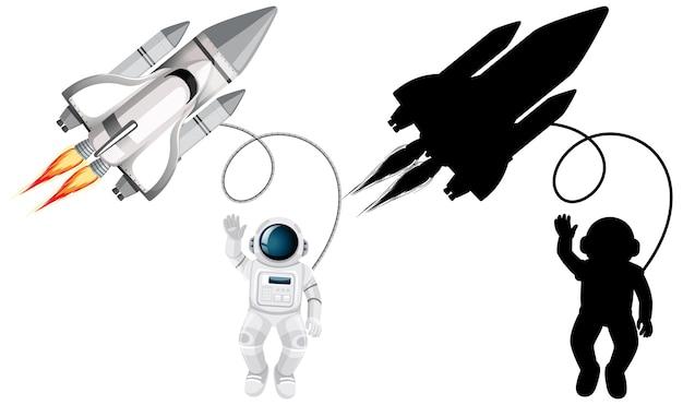 Satz von astronautencharakteren und seiner silhouette auf weißem hintergrund Kostenlosen Vektoren