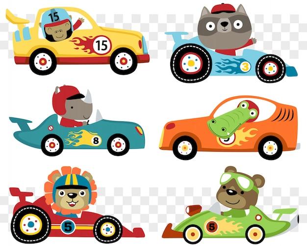 Satz von autos rennen cartoon mit lustigen rennfahrer Premium Vektoren