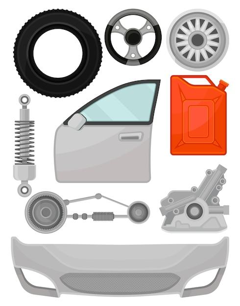 Satz von autoteilen. tür, vordere stoßstange, lenkrad, reifen, stoßdämpfer. elemente für den autoreparaturservice Premium Vektoren