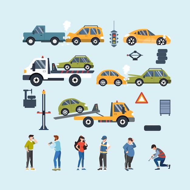 Satz von autounfall- und pannenhilfeelementen. kfz-versicherung. flache darstellung. Premium Vektoren