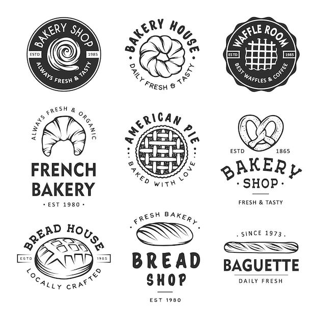 Satz von bäckerei-etiketten Premium Vektoren