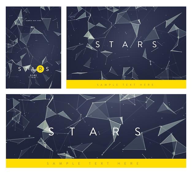 Satz von banner- oder flyer-layouts. abstrakte netzhintergründe mit kreisen, linien und dreieckigen formen. Premium Vektoren