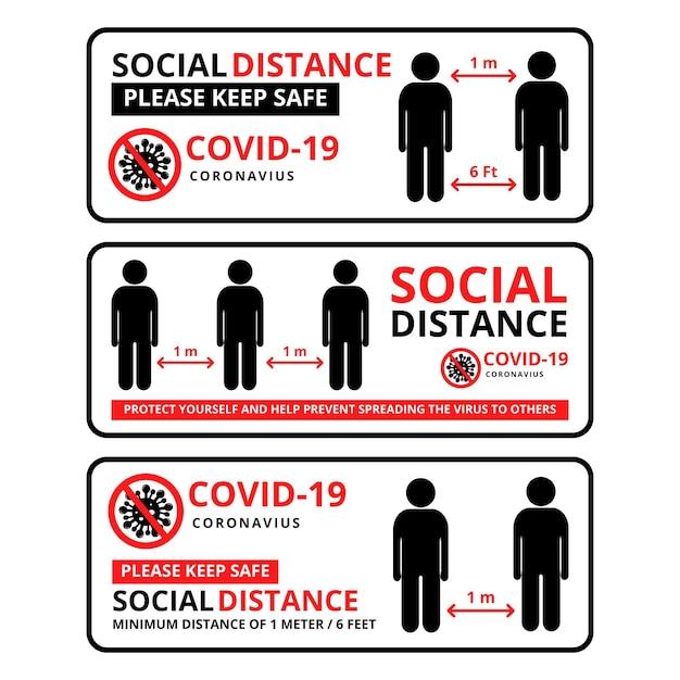 Satz von bannervorlagen für soziale distanzierung Kostenlosen Vektoren