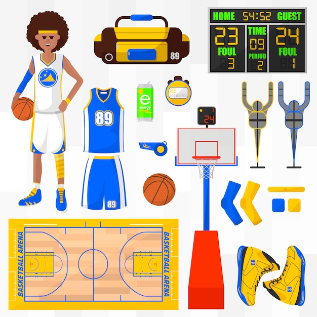 Satz von basketball-vektorelementen. Premium Vektoren